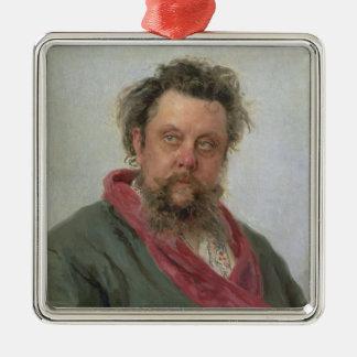 Porträt von bescheidenem Petrovich Moussorgsky Quadratisches Silberfarbenes Ornament