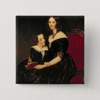 Porträt von Eliza Boardman und ihr Sohn, Robert, Quadratischer Button 5,1 Cm