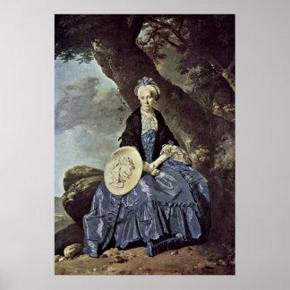 Porträt von Frau Oswald durch Johann Zoffany Poster