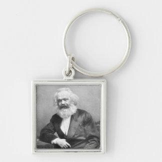 Porträt von Karl Marx Silberfarbener Quadratischer Schlüsselanhänger