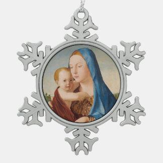 Porträt von Mary Baby Jesus halten Schneeflocken Zinn-Ornament