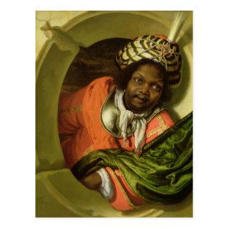 Porträt von Moor eine Flagge an einem Fenster Postkarte