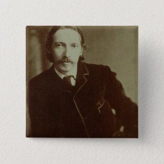 Porträt von Robert Louis Balfour Stevenson (1850-9 Quadratischer Button 5,1 Cm