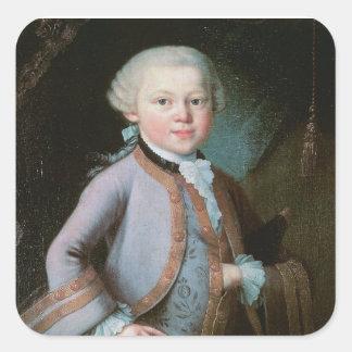 Porträt von Wolfgang Amadeus Mozart Quadratischer Aufkleber