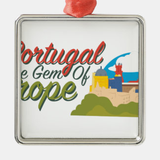 Portugal-Edelstein von Europa Quadratisches Silberfarbenes Ornament
