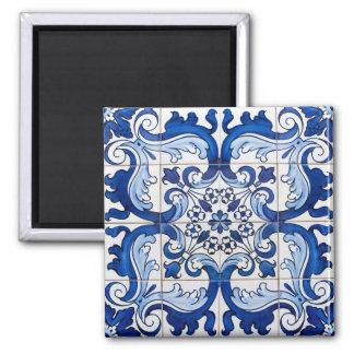 Portugiese Azulejo deckt Muster mit Ziegeln Quadratischer Magnet