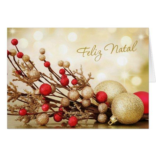 Portugiesisches Weihnachten - Rot und Goldflitter Grußkarte