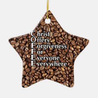 Porzellan-Stern-Verzierung KAFFEE Christus bietet Keramik Ornament