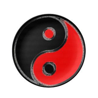 Porzellansockel Yin Yang Noir/Rouge Teller