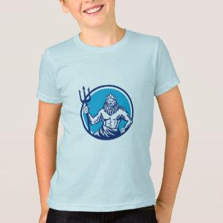Poseidon Trident Kreis-Holzschnitt T-Shirt