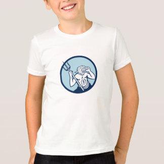 Poseidon Trident Kreis Retro T-Shirt