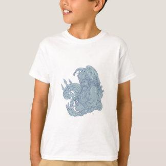 Poseidon Trident-Wellen-Zeichnen T-Shirt