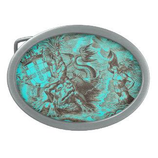 Poseidon und Delphin-Weltkarte Ovale Gürtelschnallen