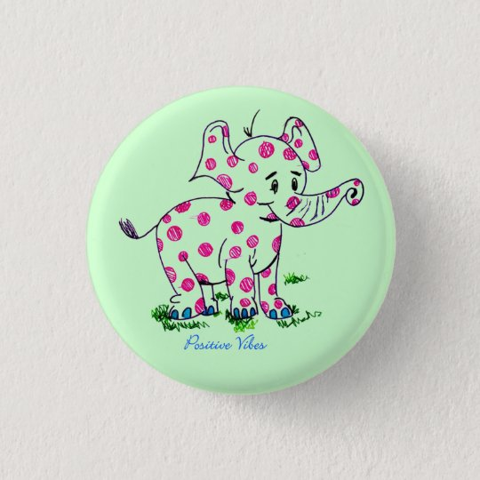 Positiver Schwingungens-Elefant Runder Button 2,5 Cm