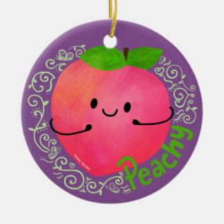 Positives Pfirsich-Wortspiel - pfirsichfarben Keramik Ornament