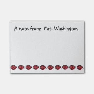 Post-it® Cadeau rouge de notes de post-it de coccinelle de