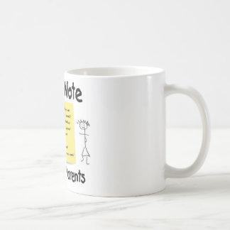 Post-Itanmerkung von Whimpy Eltern Kaffeetasse