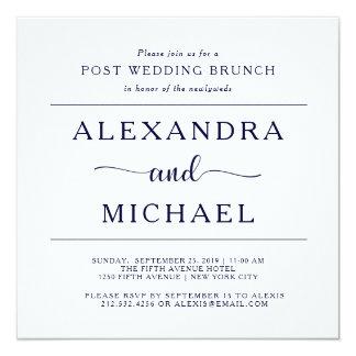Posten-Hochzeits-Brunch der Marine-Eleganz-| Quadratische 13,3 Cm Einladungskarte