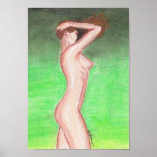 Poster 20x28cm - Nu féminin - pastel gras