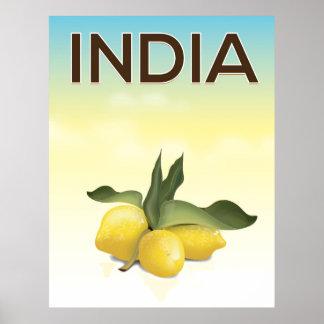 Poster Affiche de voyage de citron de l'Inde
