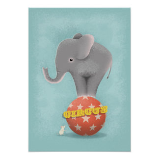 Poster Affiche d'impression d'art d'éléphant de cirque