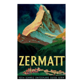 Poster Affiche vintage d'art de Zermatt Suisse Matterhorn