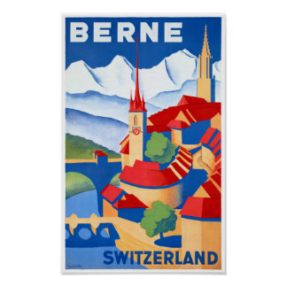 Poster Affiche vintage de voyage de Berne Suisse