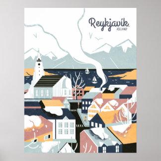 Poster Affiche vintage de voyage de Reykjavik, Islande