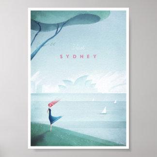 Poster Affiche vintage de voyage de Sydney