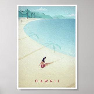 Poster Affiche vintage de voyage d'Hawaï