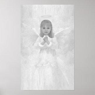 Poster Ange en noir et blanc