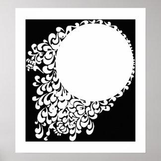 Poster Anneau fleuri blanc noir