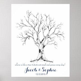 Poster arbre de livre d'invité de mariage d'empreinte
