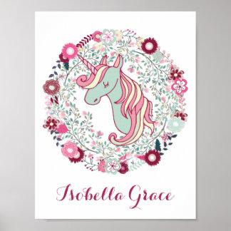 Poster Art adorable de licorne de décor de crèche