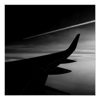 Poster Avion dans le ciel en noir et blanc