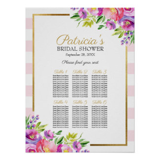 Poster Beau diagramme nuptiale floral rose d'allocation