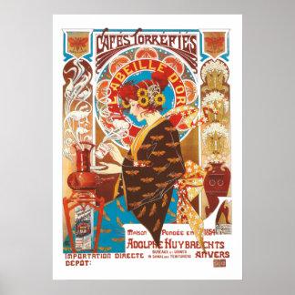 Poster Café vintage d'illustration de Nouveau d'art