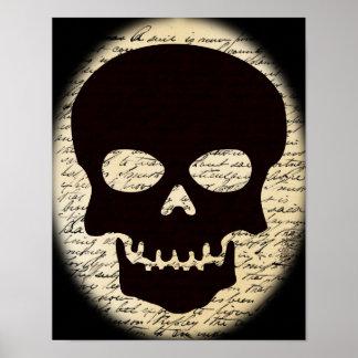 Poster Crâne sur l'affiche vintage des textes