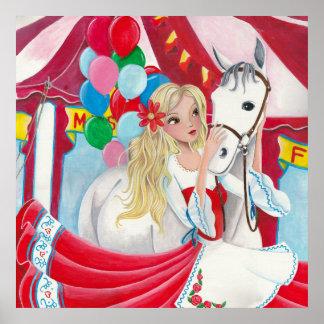 Poster Fille de cirque et cheval - affiche