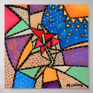 Poster Fleur abstraite lunatique