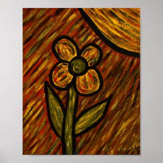 Poster Fleur abstraite moderne d'automne
