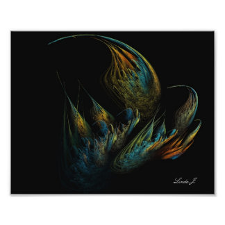 Poster Fractale abstraite colorée sur la copie noire de