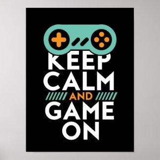 Poster Gardez le jeu calme sur l'affiche pour le geek de
