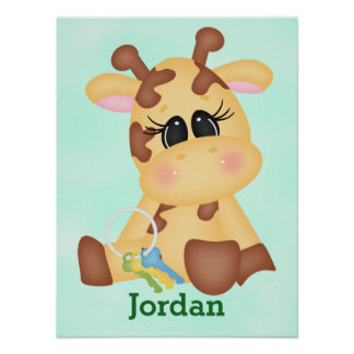 Poster Girafe mignonne de bébé de l'affiche de l'enfant