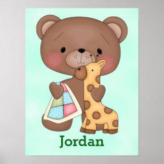 Poster Girafe mignonne d'ours de nounours de bébé de