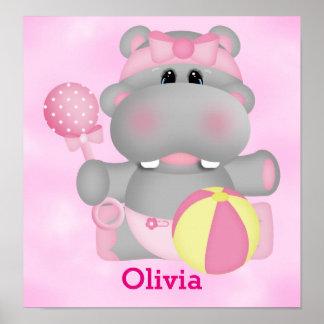 Poster Hippopotame mignon de bébé de l'affiche de