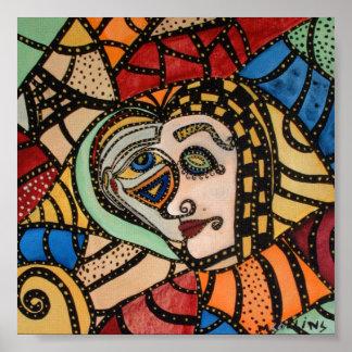 Poster Illustration moderne abstraite colorée