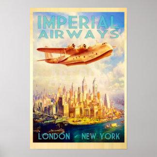 Poster Imperial Airways Londres et voyage vintage de New