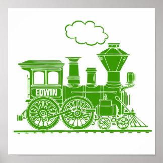 Poster La crèche personnalisée par train graphique vert