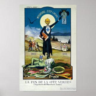 """Poster """"La mort de la fée verte"""", absinthe"""